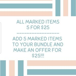 5 items for $25!!